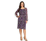 As Is Kelly by Clinton Kelly Feather Print Dress w/ Split Sleeve - A276840