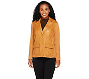 As Is Linea by Louis DellOlio Leather Blazer w/ Knit Sleeves - A277340