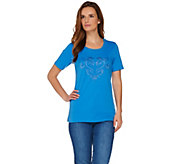 Quacker Factory Blue Bayou Round Neck Short Sleeve T-shirt - A277440