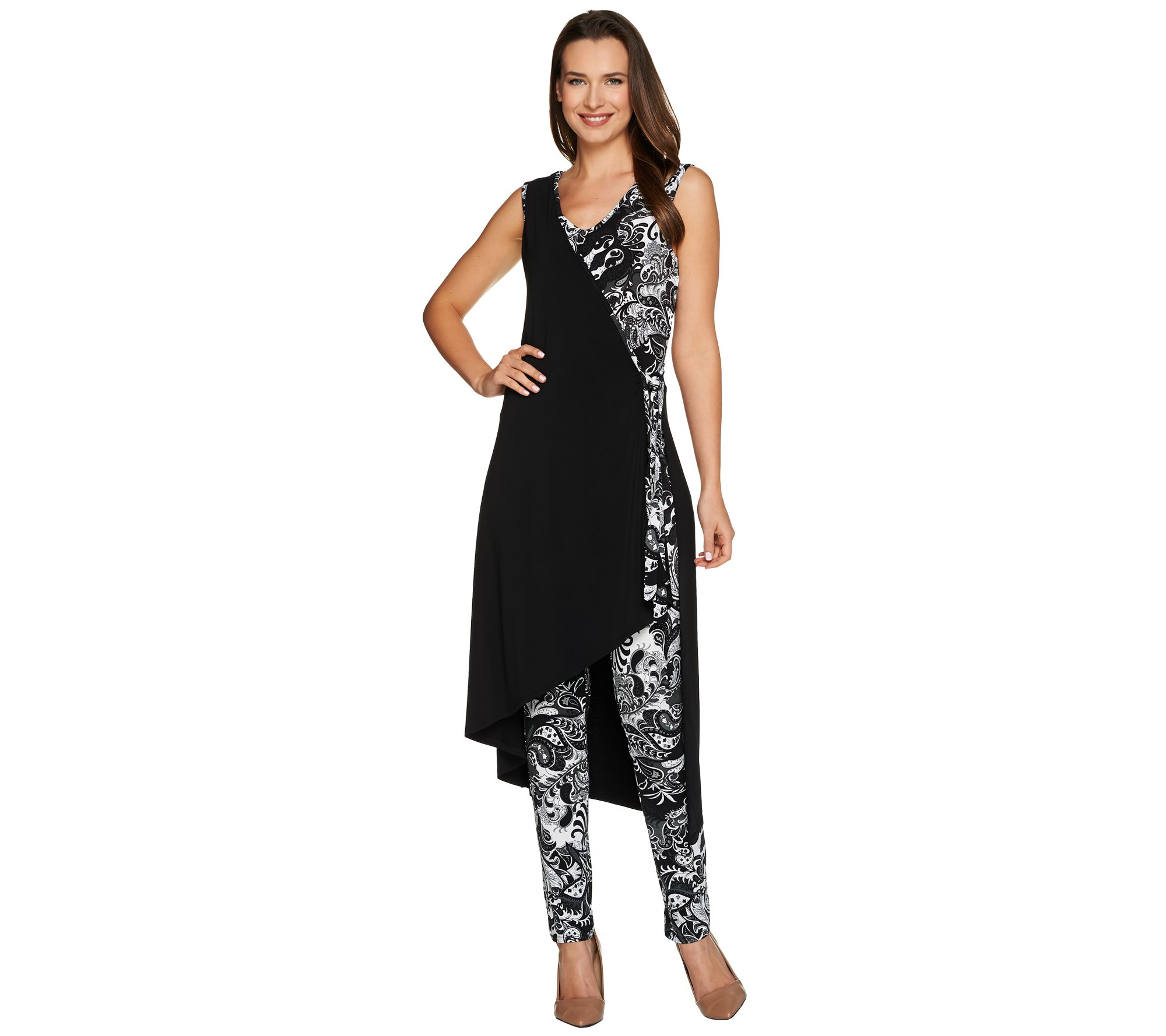 Attitudes By Renee Tall Printed Faux Wrap Knit Jumpsuit