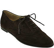 As Is Isaac Mizrahi Live! Suede Oxfords with Pinhole Detail - A278640