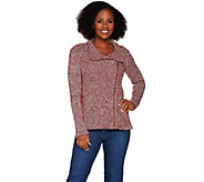 Isaac Mizrahi Live! Mixed Stitch Motorcycle Sweater - A280140