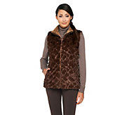 As Is Joan Rivers Reversible Faux Fur Vest with Sequin Detail - A281840