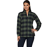 Denim & Co. Zip Front Buffalo Check Flannel Shirt - A283540