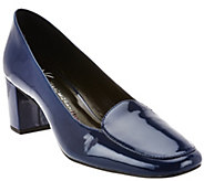 As Is Isaac Mizrahi Live! Patent Leather Pumps with Block Heel - A283840