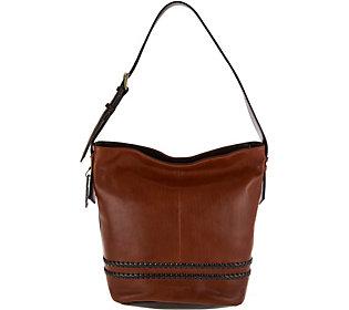 As Is Tignanello Vintage Leather RFID Bucket Hobo Bag