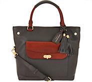 As Is Isaac Mizrahi Live! Bridgehampton Pebble Leather Shopper Handbag - A291740