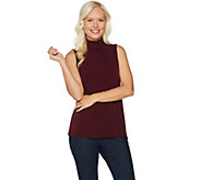 Every Day by Susan Graver Liquid Knit Smocked Mock Neck Top - A293640