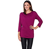 As Is H by Halston Draped Wrap Back Long Sleeve Knit Top - A298640
