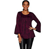 H by Halston Knit Jacquard Scoop Neck Bell Sleeve Tunic - A298840