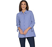 Susan Graver Yarn Dyed Gingham Button Front Shirt - A302640