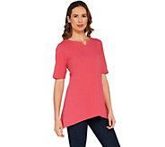 Denim & Co. Essentials Elbow Sleeve Perfect Jersey Trapeze Hem Top - A305040