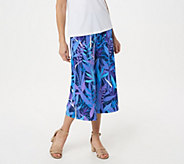 Bob Mackies Tropical Paradise Print Gaucho Knit Pants - A306540
