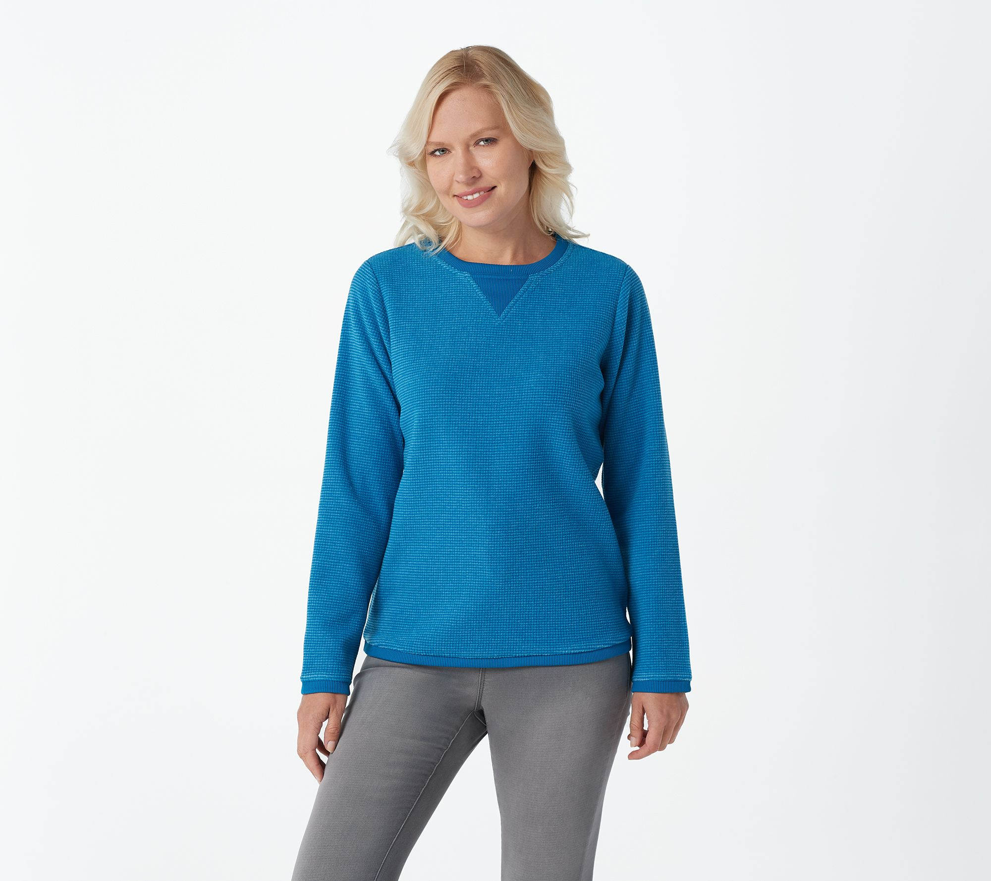 Denim & Co. Textured Chenille Sweatshirt - A51240