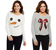 Bethany Mota Choice of Sequined Snowman or Bow Sweater - A70640