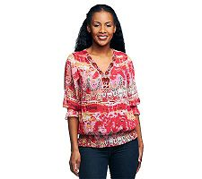 M by Marc Bouwer Printed Blouse with Beaded Neckline