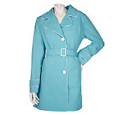 Dennis Basso Water Resistant Solid Trench Coat - A200241