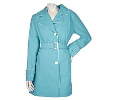 Dennis Basso Water Resistant Solid Trench Coat