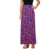 Isaac Mizrahi Live! Floral Print Knit Maxi Skirt - A233641