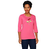 Quacker Factory Think Pink Sparkle Rose 3/4 Sleeve T-shirt - A251641