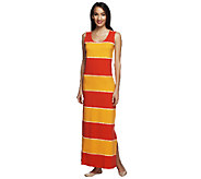 Liz Claiborne New York Sleeveless Tie Dye Striped Knit Maxi Dress - A252541