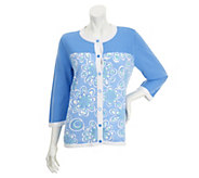 Bob Mackies Floral Print Colorblock Crew Neck Cardigan - A254141