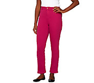 Isaac Mizrahi Live! Regular Knit Denim Ankle Pants - A254341