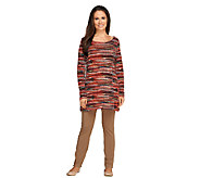Women with Control Regular Printed Tunic & Slim Leg Pants Set - A256841