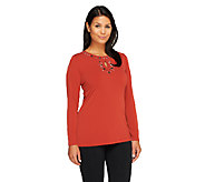 Susan Graver Liquid Knit Long Sleeve Top w/ Embellished Keyhole - A257941
