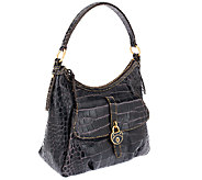 Dooney & Bourke Leather Croco Fino Hobo - A258241