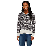 Isaac Mizrahi Live! Engineered Lace Printed Cardigan - A259541