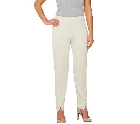 Susan Graver Premier Knit Hollywood Waist Slim Leg Ankle Pants - A261941