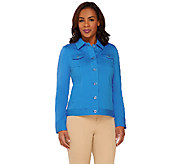 Isaac Mizrahi Live! Knit Denim Jacket with Eyelet Detail - A262841