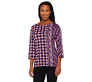 Bob Mackies Indonesia Print 3/4 Sleeve Knit Tunic - A263341