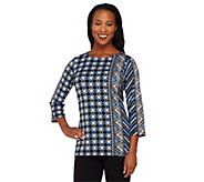 Bob Mackies Indonesia Print 3/4 Sleeve Knit Tunic - A263341