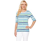 Liz Claiborne New York Elbow Sleeve Striped Cardigan - A264141