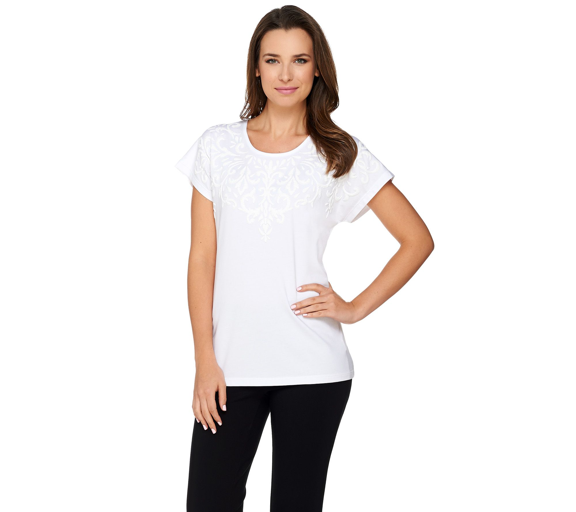 Susan Graver Weekend Cotton Modal Top with Textured Print ...