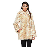 As Is Dennis Basso Faux Sheared Mink Fur Coat - A267241