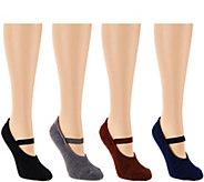 MUK LUKS 4 Pairs Aloe Vera and Non-Slip Mary Jane Socks - A268641