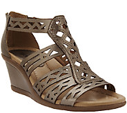 As Is Earth Leather Wedge Sandals w/ Perforated Details - Petal - A270141