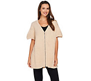 H by Halston Directional Rib Zip Front Sweater Poncho - A270241