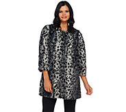 Dennis Basso Faux Fur Collarless 3/4 Sleeve Long Coat - A270641