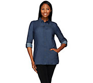 Denim & Co. Button Front Woven Tunic With Pockets - A272141