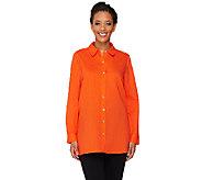 As Is Susan Graver Linen Blend Button Front Long Sleeve Shirt - A273141