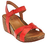 Clarks Artisan Leather Cork Wedge Sandals w/ Adj. Strap - Temira Compass - A275841
