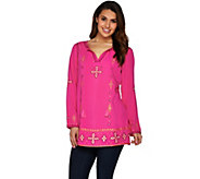 C. Wonder Split V-neck Tunic with Beading and Embroidery - A279041