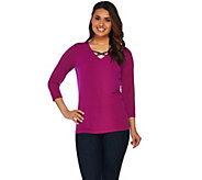 Susan Graver Artisan Liquid Knit Embellished Top - A279741