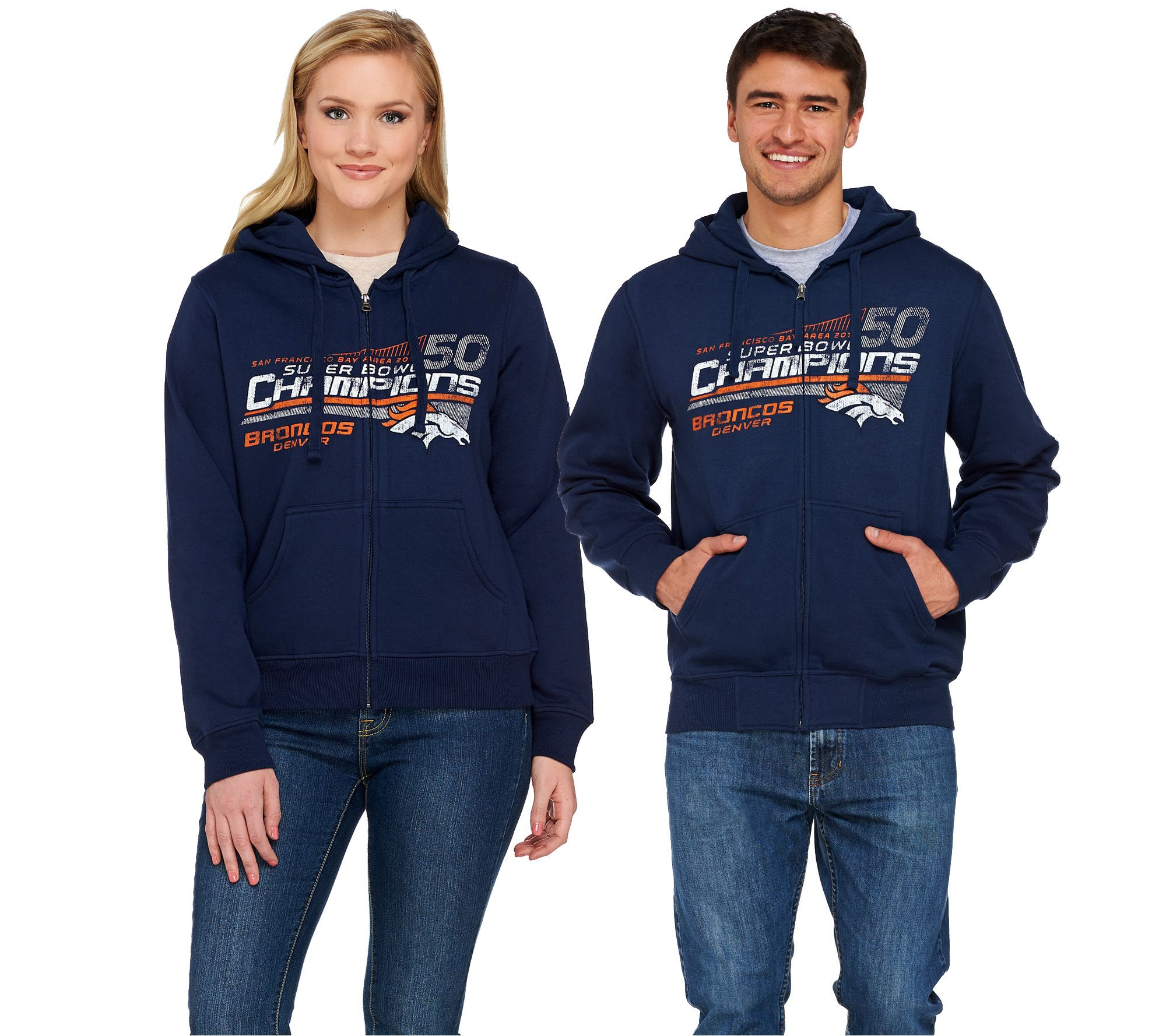 SH3/4 NFL SuperBowl 50 Champions Broncos Zip Up Hoodie