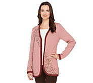 As Is Bob Mackies Open Front Embroidered Cardigan - A280641