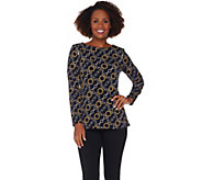Susan Graver Printed Liquid Knit Top with Zipper Detail - A281141
